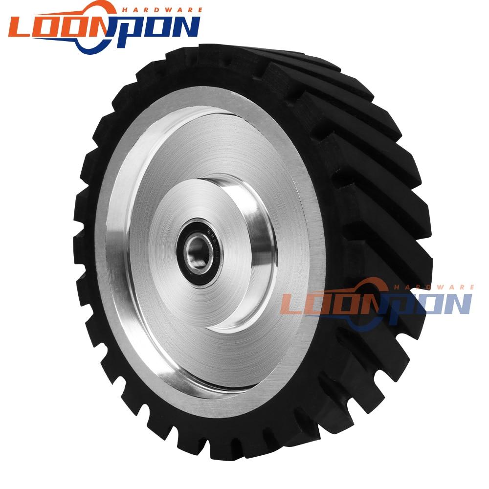 200/250/300mm Diagonal Rubber Contact Wheel Belt With Bearing Grinder Wheel Grinding Belt Set 1PC