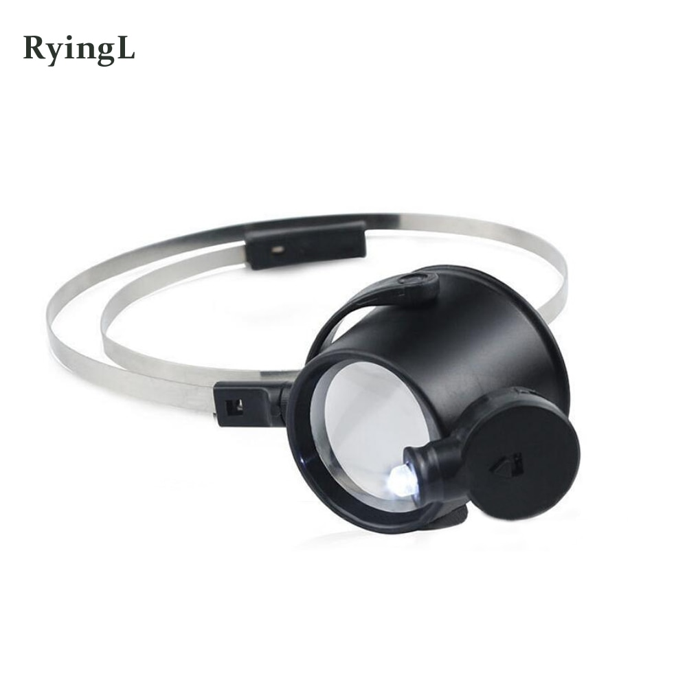LED Iluminado 15X Relojoeiros Eye-Hands-Free Banda de Cabeça Lupa Lupa