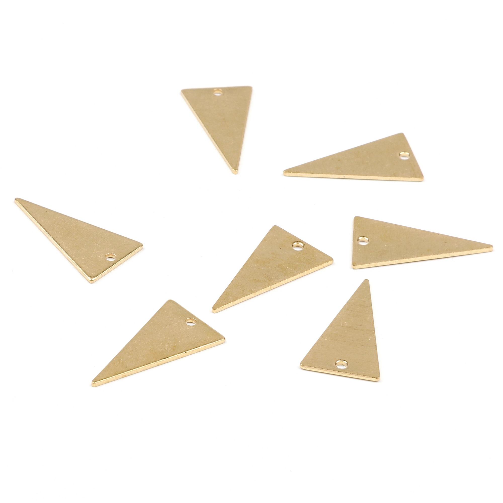Colgantes geométricos de latón, hallazgos de pendientes de latón crudo, colgante de latón crudo, pendientes triangulares, abalorio de latón, 20,5mm x 11,5mm-RB1109