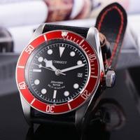 Corgeut 41mm Automatic Mechanical Watch Men Military Black Dial Leather Strap Luminous Waterproof Sport Diver Male Wristwatch