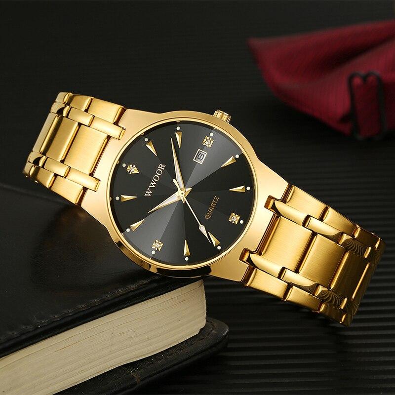 WWOOR montre pour hommes 2020 haut luxe diamant or hommes montres mode acier inoxydable Date Quartz montre-bracelet homme kol saati erkek
