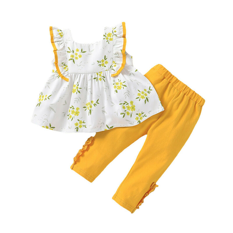 AA 2020 Toddler Kids Baby Girls Clothes Sleeveless Ruffle Top Dress Pants Trousers Outfit Flower Pattern Clothes