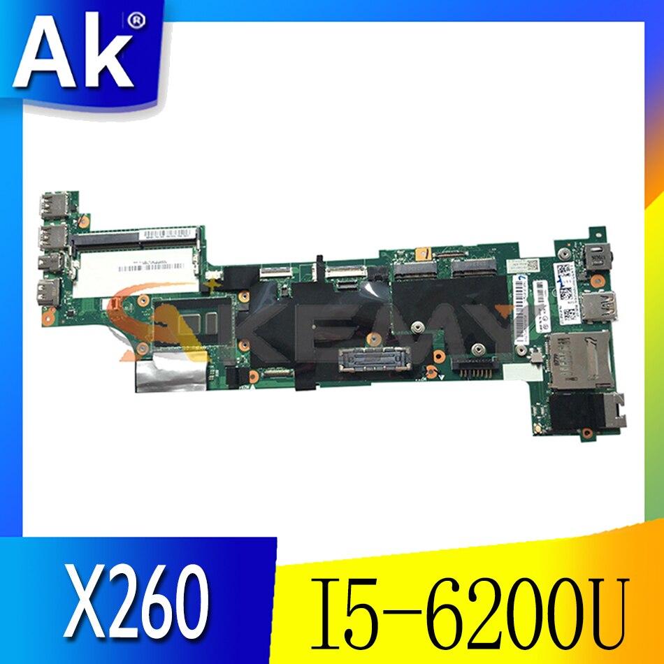 Akemy مناسبة لينوفو ثينك باد X260 اللوحة الأم للكمبيوتر المحمول CPU I5 6200U اختبار العمل FRU 01EN207 01EN194 01HX028 01HX041 01HX027