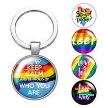 Lgbt Rainbow Vlag Liefde Is Liefde Glas Cabochon Sleutelhanger Zak Auto Sleutelhanger Ring Houder Verzilverd Sleutelhanger Voor Mannen vrouwen Geschenken
