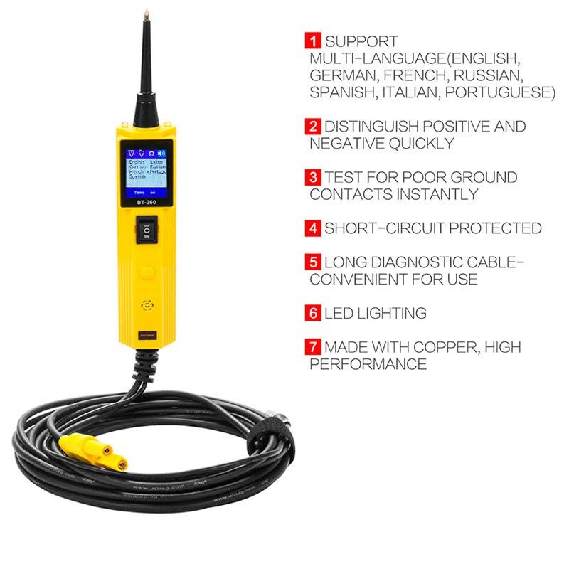 BT260, probador de circuito automotriz, sonda de potencia, herramienta de diagnóstico de sistema eléctrico para vehículo/motocicleta/barco/camiones ALI88
