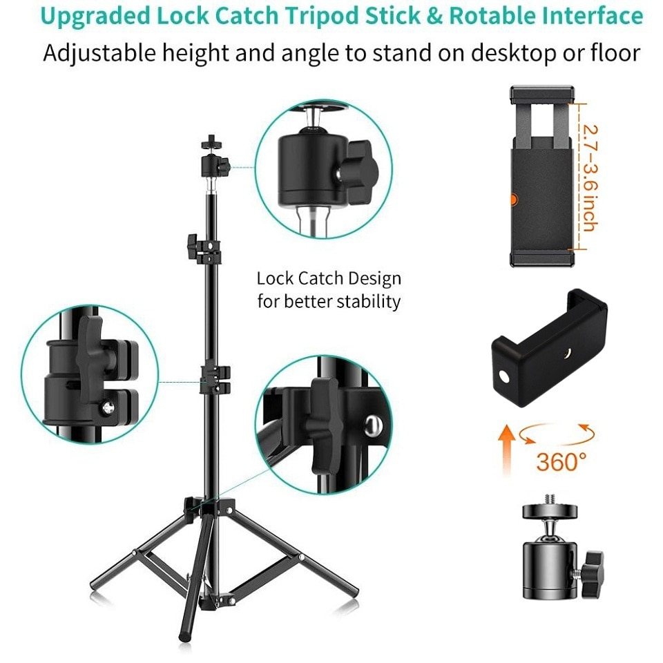 Photographic Lighting Stand Fill Light Stand Adjustable Tripod Suit For Ring Light With 1/4 Screw Desktop And Vertical Ring Lamp enlarge