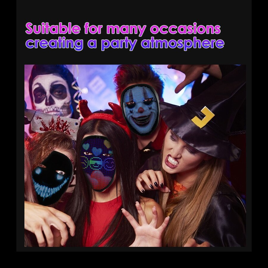 LED Light Up Mask Induction Switch LED Mask With Bluetooth App Control 45 Animations 70 Pictures DIY Patterns/Texts enlarge