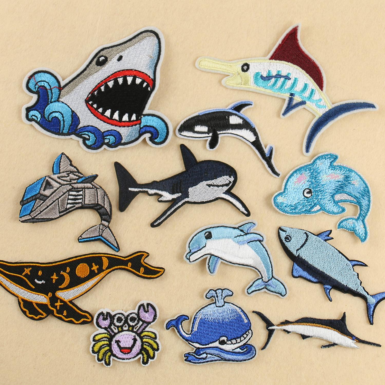 Lots assortis réaliste sous la mer vie Figure brodé océan poisson requin Patch vêtements chapeau sac décor Badge enfant enfants cadeau