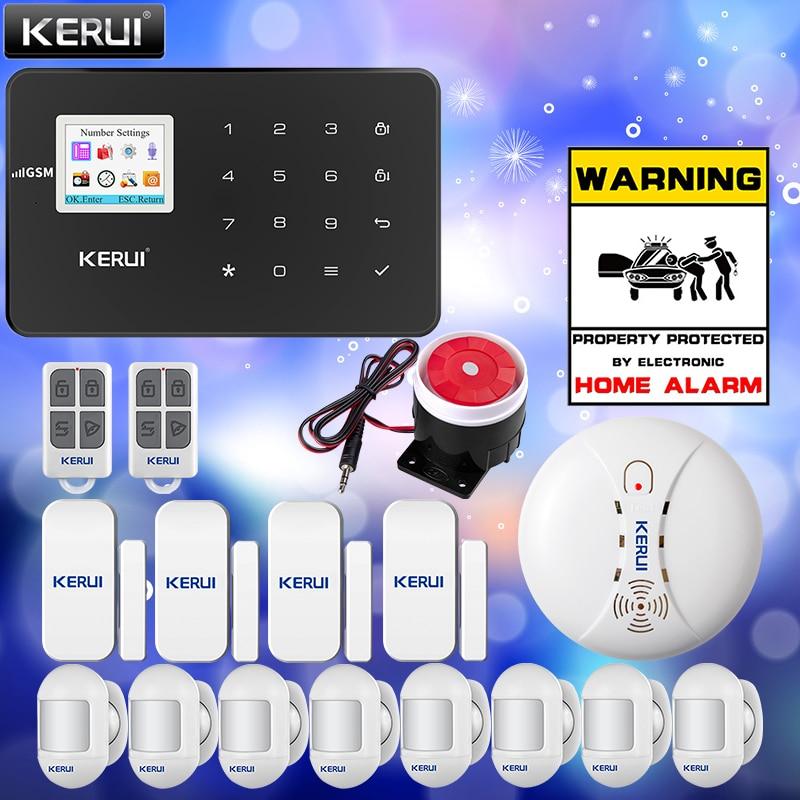KERUI Smart Home Alarm System G18 GSM Wireless Connections App Control 433MHZ Frequency Black Host Smoke Sensor Door Sensor Kit