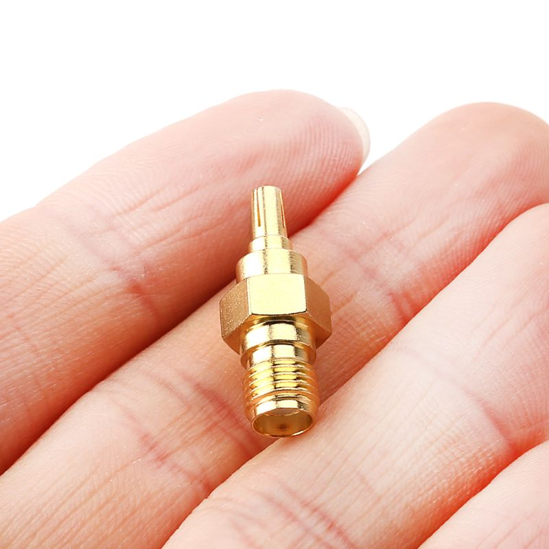 straight rf coaxial adapter f connector to sma convertor quality f type female jack to sma male plug gold tone CRC9 Male Plug To SMA Female Jack RF Connector Coaxial Converter Adapter Straight Y98E