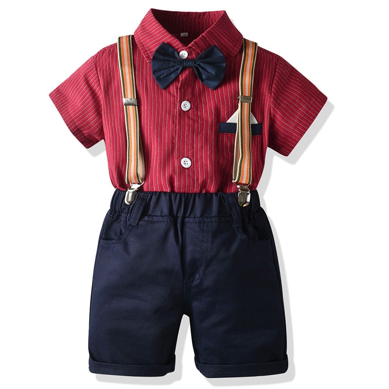 Traje de caballero para bebés, camisas con pajarita de algodón 100% + Pantalones, conjunto de 3 uds., ropa de bautismo para bodas y cumpleaños, trajes para niños