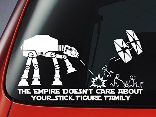 "Star Wars ATAT & Tie Fighter inspirado ""el imperio no se preocupa por tu palo figura Familia"" vinilo calcomanía- coche ventana etiqueta engomada"