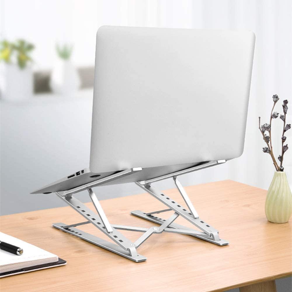 Laptop Stand Portable 6+9 Levels Double Layer Height Adjustable Aluminum Foldable Laptop Holder Raise Laptop to Eye Level