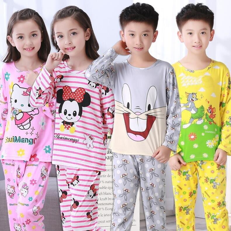 Outono Crianças Pijama Conjunto de Manga Longa de algodão Crianças Sleepwear Animais Cardigan Terno Do Bebê Pijamas Meninas Pijamas Set Meninos Pijama