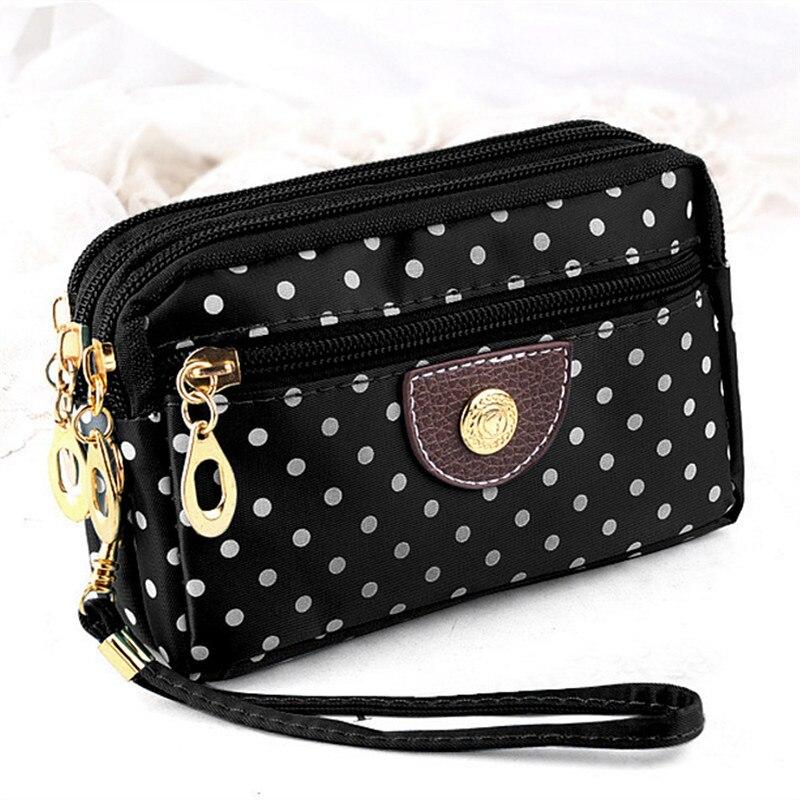 Women's Wallets Small Handbags Canvas Dot Lady Zipper Moneybags Clutch Coin Purse Pocket Wallet Card