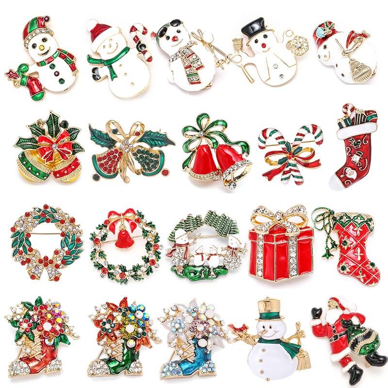 Novo natal broches pinos bonito papai noel chapéu luvas sinos meias donuts doces esmalte pino emblemas broche para mulher jóias presente