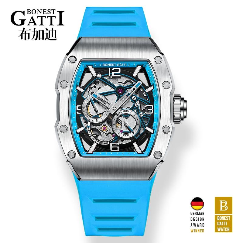 أفضل العلامة التجارية ساعة ميكانيكية الرجال ساعات أوتوماتيكية زرقاء رجالي مضيئة الأيدي مطاط مقاوم للمياه ساعة المعصم Reloj Hombre