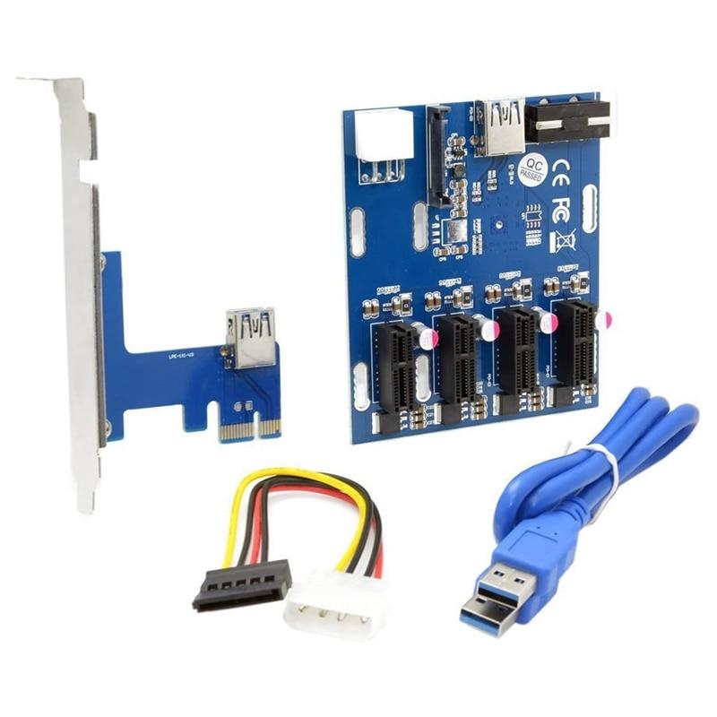 PCI-E 1X إلى 4 منافذ 1X محول الناهض USB 3.0 كابل مضاعف HUB وحدة معالجة الرسومات الناهض محول للتعدين BTC Ethereum