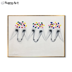 Hand-Painted Three Sheep Head Oil Painting for Living Room Decor Modern Animal Wall Painting Famous Paintings White Sheep