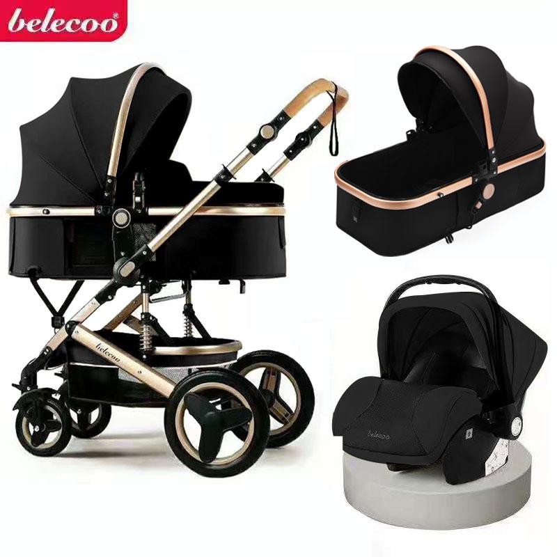 Роскошная детская коляска 3 в 1, переносная дорожная коляска, складные коляски, алюминиевая рама, высокая Ландшафтная Автомобильная коляска ...