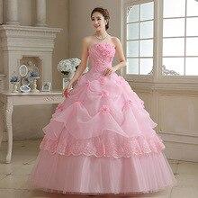Rose/Blanc/Rouge Mariée Robe De Mariée à lacets Rose bustier tubulaire de Mariée longueur Au Sol robes de grande taille Fleur Robes Robes De Bal