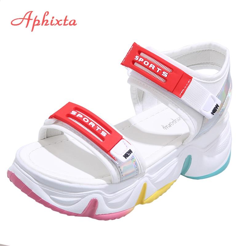 Aphixta Polegada Fundo Grosso Plataforma Sprorts Sandálias Mulher 5.5cm Altura Crescente Colorido Verão Hook & Loop Sapatos Femininos 2.16