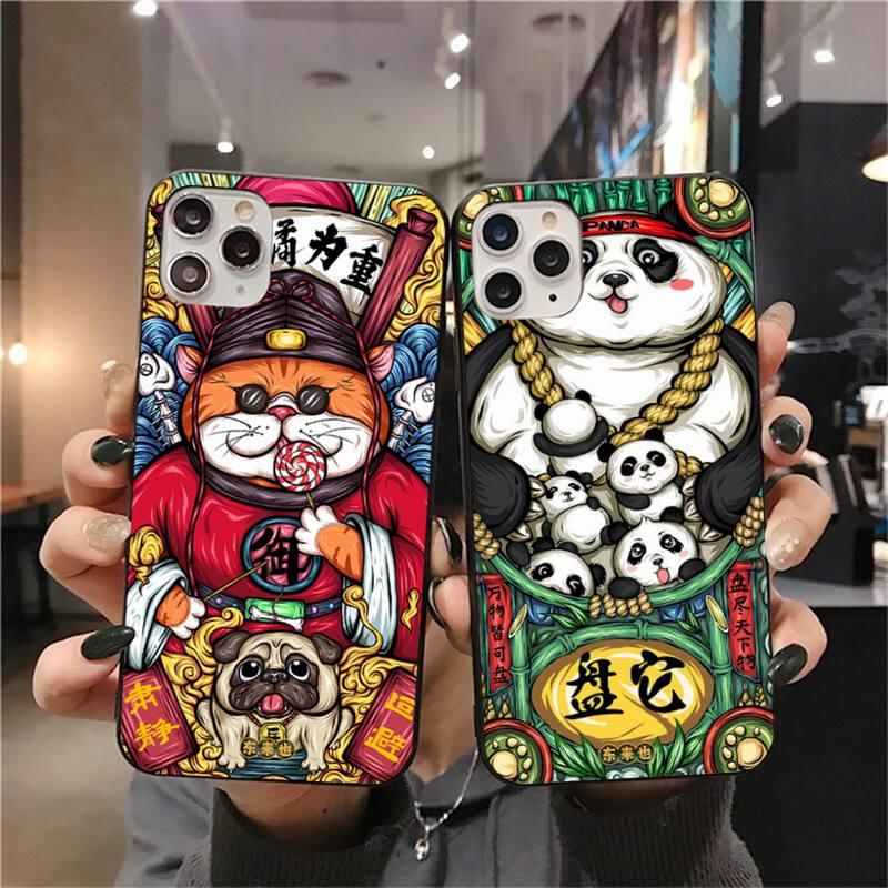 CUTEWANAN estilo de China desea Coque caja del teléfono Shell para iPhone 11 pro XS MAX 8 7 6 6S Plus X 5S SE 2020 XR caso