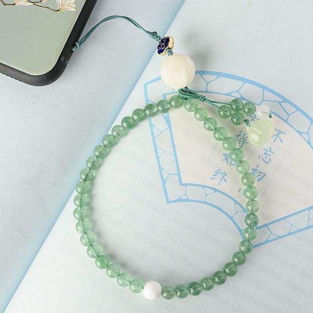 Оригинальный натуральный зеленый Клубника Кристалл короткий телефон ремешки наручный ремешок подвеска падение сопротивление съемный ключевой ремень