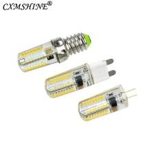 1 pièces Silicone Dimmable G9 G4 E11 E12 E14 E17 LED lumières AC 110V/220V 64 LED s clair maïs ampoule lampe pour cristal lustre lumière