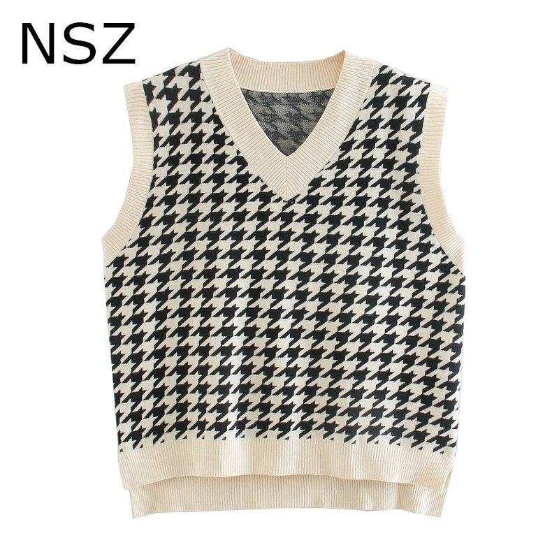 NSZ mujeres oversized houndstooth knit chaleco asimetría sin mangas suéter chaqueta abrigo top sin mangas a cuadros chaleco Otoño Invierno