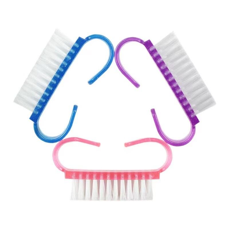 Escova de Unha Gel de Limpeza Novo Grupo Azul Rosa Roxo Multicolorido Acrílico Ferramenta Arquivo Unha Arte Cuidados Manicure pó Mais Limpo Macio 100 Pçs –