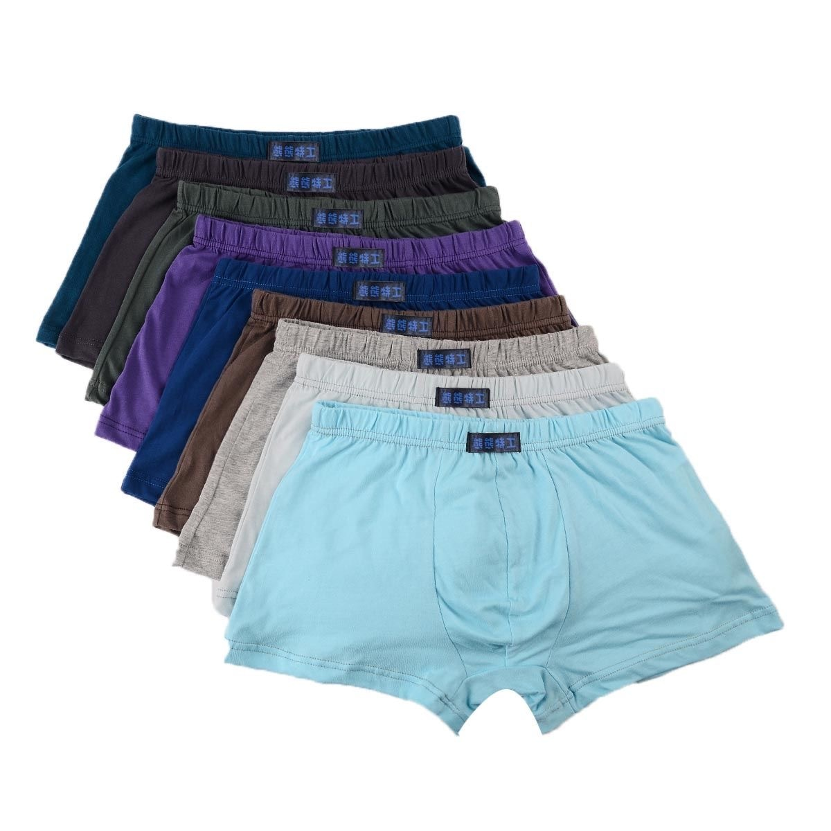 Mens pure cotton plain corner breathable solid color boxer briefs sweat absorption sexy big fat guy loose bottom pants