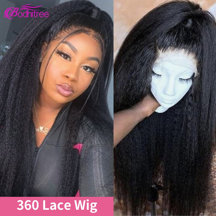 28 Inch 360 Lace Wig Kinky Straight Wig 250 Density Brazilian Hair Wigs 360 Full Lace Wig Human Hair Pre Plucked Can Be Dyed