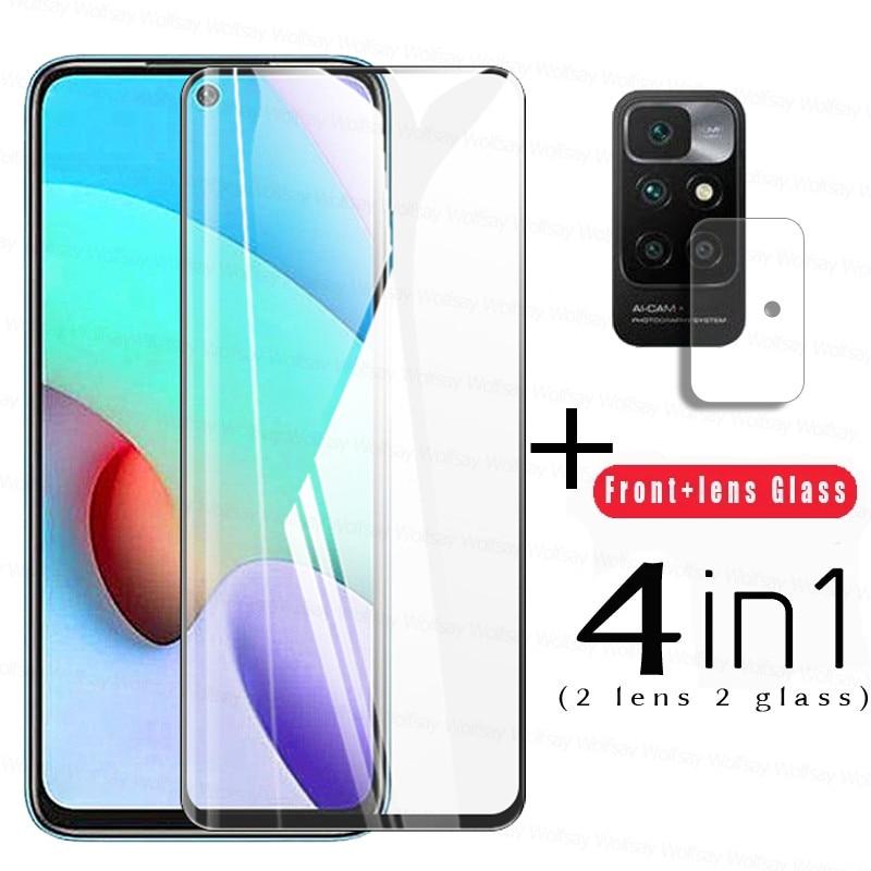 Tempered Glass For Xiaomi Redmi 10 Glass For Redmi 10 9 9A 9C 9T Full Cover Screen Protector For Xiaomi Redmi 10 Lens Film