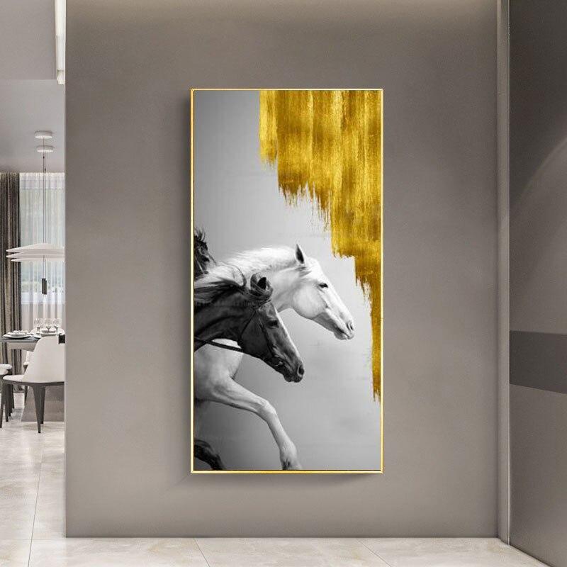 Póster moderno de Animal, lienzo, pintura de pared, cuadro de caballo blanco y negro para decoración de galería, Cuadros, Cuadros de pared