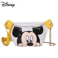 disney cartoon mickey lady waist bag chest bag large capacity pu zipper durable storage children cute one shoulder messenger bag