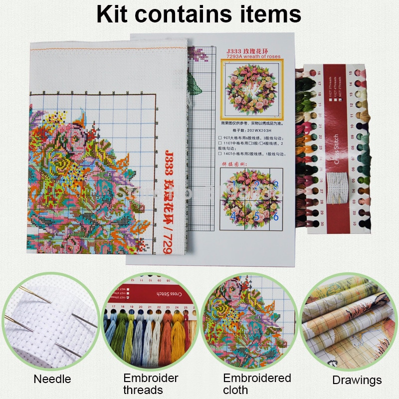 Joy Sunday Cross Stitch Kit Printed Fabric11&14CT Castle Landscape Cross Stitch Kit Needle Craft DIY Handmade Gift Wall Painting