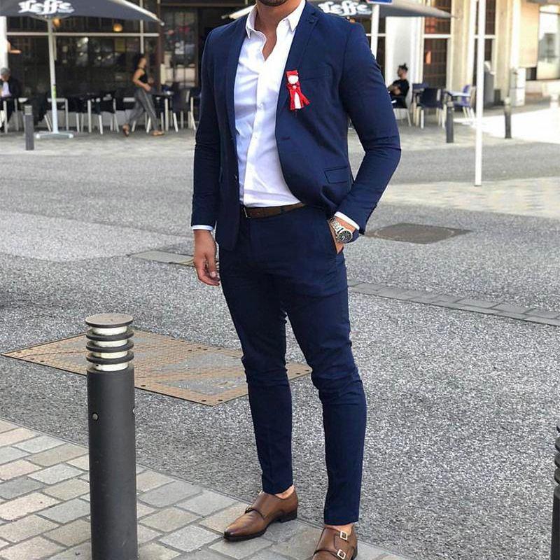 بدلة زفاف زرقاء أنيقة للرجال ، بدلة رسمية عصرية ، نحيفة ، طية صدر السترة ، التخرج ، الأب ، مصممة خصيصًا ، سترة وسراويل ، 2021