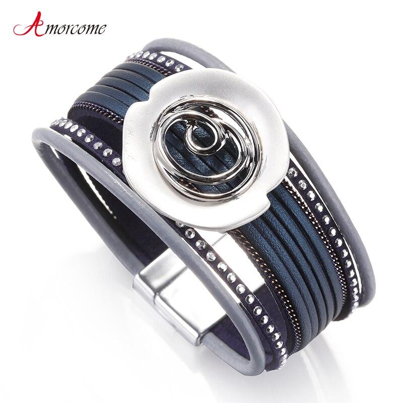 Amorcome/женские кожаные браслеты с цветком и заклепками, модный многослойный синий широкий браслет, Женские Ювелирные изделия