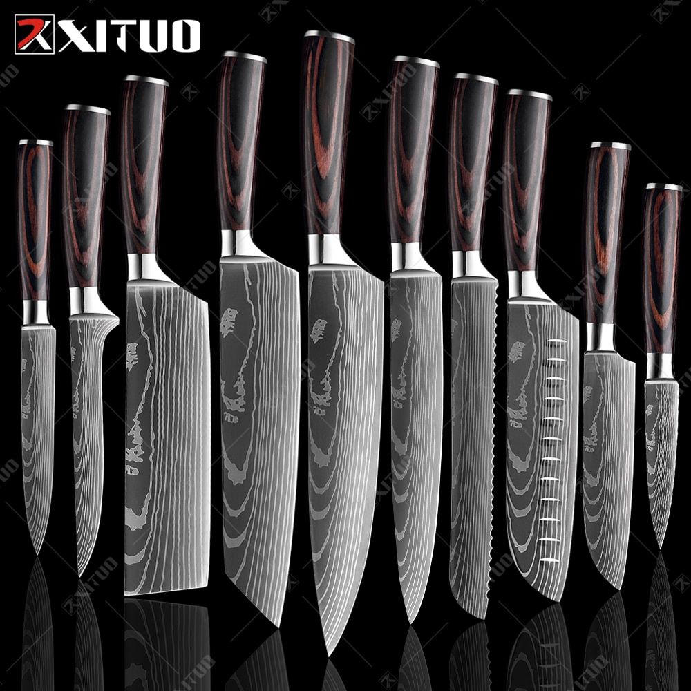 xituo 2018 new damascus knife 8 inch professional chef knife 67 layer japanese damascus steel vg 10 blade kitchen knives forging XITUO 8inch japanese kitchen knives Laser Damascus pattern chef knife Sharp Santoku Cleaver Slicing Utility Knives tool EDC New