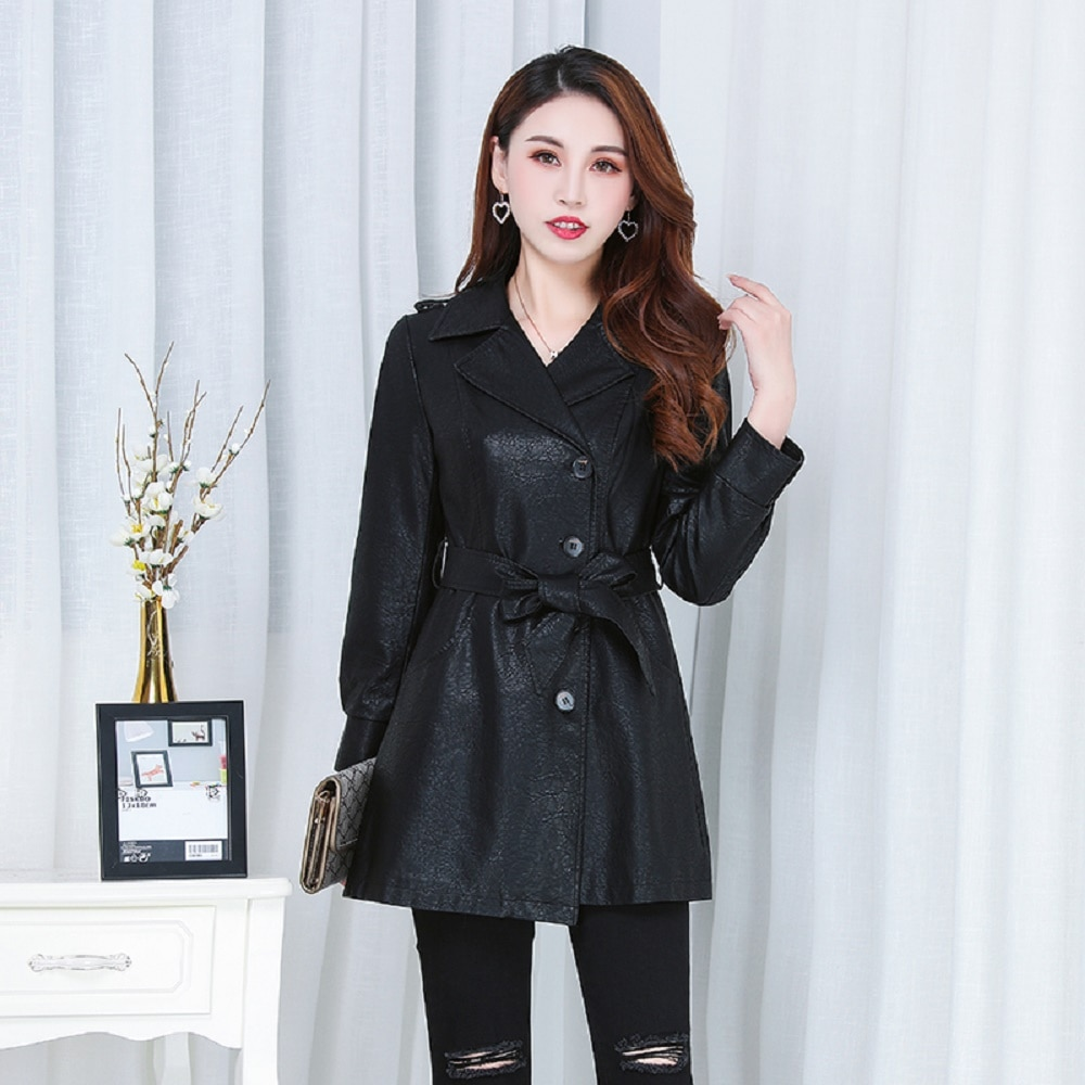 2021 Hot Sell PU Leather Jacket for Women's Korean Style Slimming Tight Fit Mid-Length Motorcycle Coat enlarge