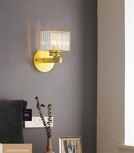 Black Gold Led Crystal Wall Lamps Bedroom Aisle Lights Hotel Decoration Lighting Fixture Led Bedside Lamp Wall Sconce Home