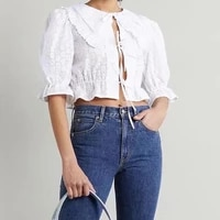 2021 women lapel hollow out embroidery shirt ruffles hem elastic sweet cardigan tie string blusas lady tether cropped top femme