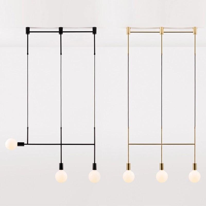 Nordic Creative Personality Chandelier Simple Modern Art Living Room Bedroom Bedside Wrought Iron Line Design Chandelier enlarge