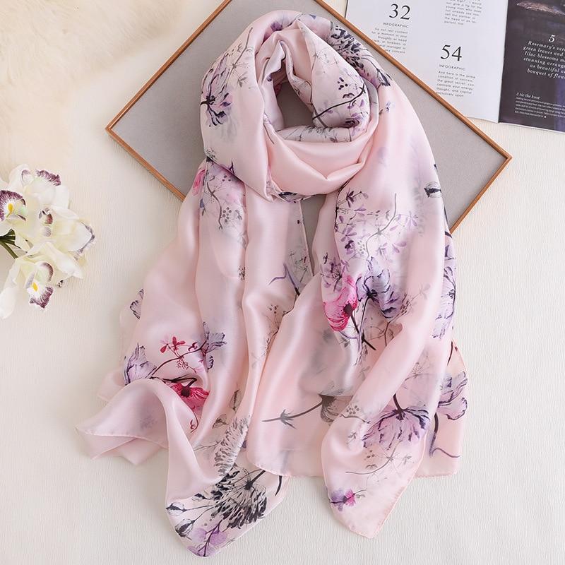 ¡Novedad de primavera 2020! Pashmina grande cálida con cuello de color rosa para mujer, chal con estampado Floral, chal, bufanda suave con sensación de seda, Hijab