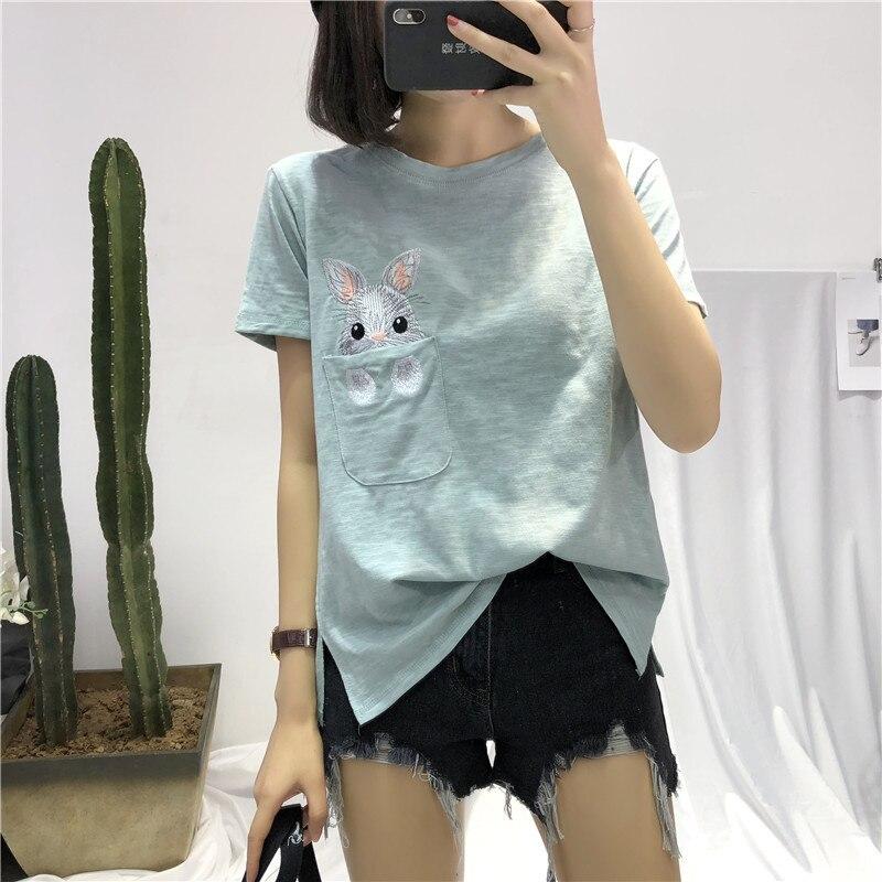 Novedad de verano, camiseta blanca de primavera para mujer, Camiseta holgada de manga corta de bambú con bolsillo de algodón bordado de conejo, Camisetas básicas