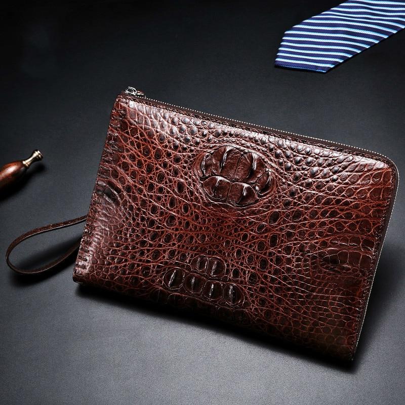 crocodile leather clutch bag brown brand Wallet fashion men's gift handbag European luxury style designer High-quality purses