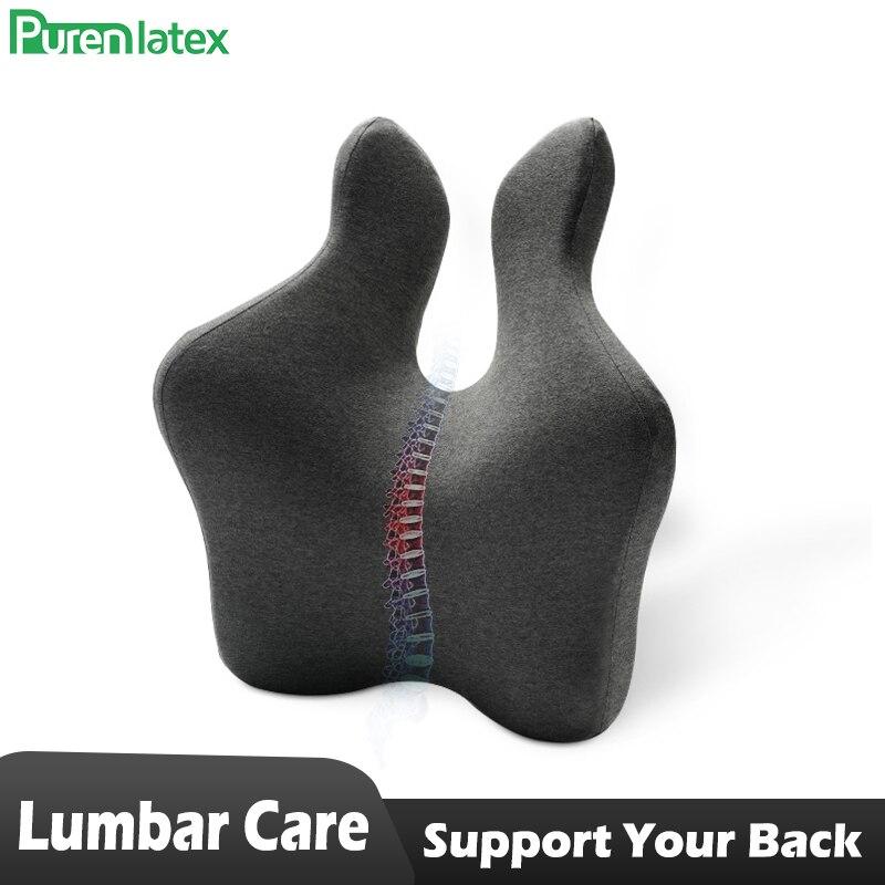 PurenLatex, cojín trasero de apoyo Lumbar, respaldo ortopédico de espuma viscoelástica para coche, oficina, ordenador, silla y silla de ruedas
