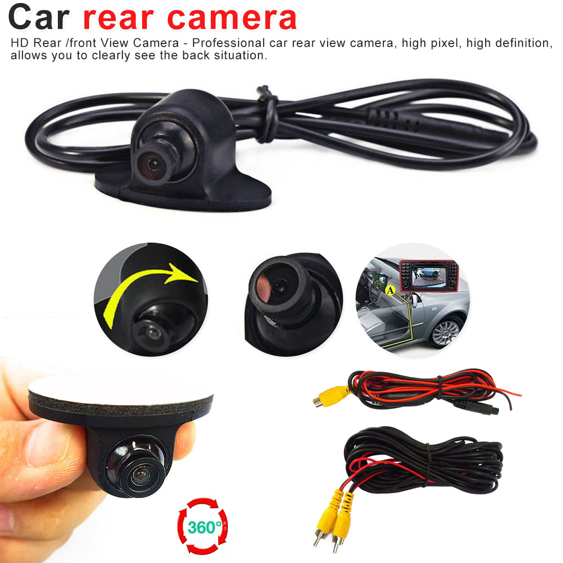 Mini CCD HD Visión Nocturna 360 grados de rotación 170 ° Gran Angular cámara de coche de respaldo trasero/cámara frontal/lateral para todos los coches