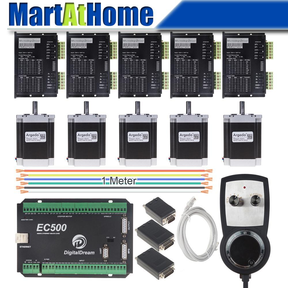 Kit de controlador paso a paso CNC de 5 ejes Mach3 Ethernet 460 KHz con controlador MPG para enrutador CNC DIY